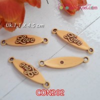 "CON202	Connector ""Love"" corak kayu uk 1,1 x 4,5 cm (1 Bks isi 6)"