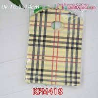 KPM418	Kantong Plastik Motif uk 10,5x14cm Handle Oval- Burberry Coklat