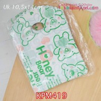 KPM419	Kantong Plastik Motif uk 10,5x14cm Handle Oval - Bear Hijau
