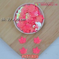 PYT1805	Payet Daun uk 22x20mm Warna Pink (1 Bks 5 gram +/-35 pcs)