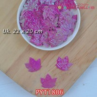 PYT1806	Payet Daun uk 22x20mm Warna Ungu (1 Bks 5 gram +/-35 pcs)