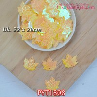 PYT1808	Payet Daun uk 22x20mm Warna Kuning (1 Bks 5 gram +/-35 pcs)