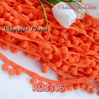 RDB306	Renda Bakso Diameter 12mm Putih Orange (Per Meter)