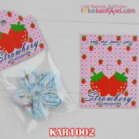 KAR1002	Kar(Hang Tag) Strawberry Merah Kotak2 Pink lebar 5cm (Per Lusin)
