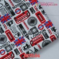 KKV104	Kain Kanvas Motif London Dominan Merah
