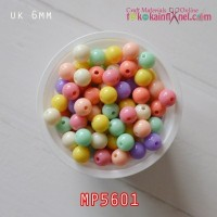 MP5601	Manik Plastik Warna Warni Bulat uk 6mm (1 bks isi 24)