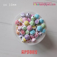 MP5602	Mote Plastik Warna Warni Ukir Mawar uk 10mm (1 Bks isi 12)