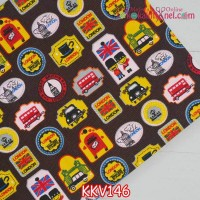 KKV146	Kain Kanvas Motif London Stamps dasar Coklat