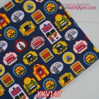 KKV147	Kain Kanvas Motif London Stamps dasar Navy