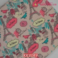 KKV149	Kain Kanvas Motif Paris dasar Dusty Pink