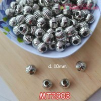 MT2903	Mote Bulat Gerigi Silver uk 10mm diameter lubang 3mm (1 bks isi 12)