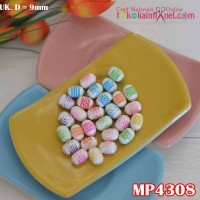 MP4308	Mote Plastik Lonjong Motif Ulir uk 10x13mm (1 bks isi 12)