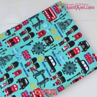 KKV151	Kain Kanvas Motif Hello London Hijau Tosca