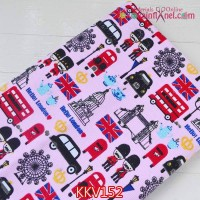 KKV152	Kain Kanvas Motif Hello London Pink