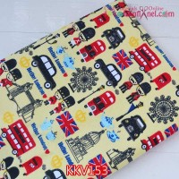 KKV153	Kain Kanvas Motif Hello London Kuning