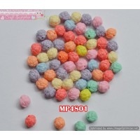 MP4801	Mote Plastik Mawar warna warni uk 1cm (1 bks isi 12)