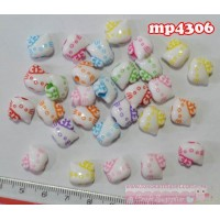 MP4306	Mote Plastik Hello Kitty Kecil uk. 1x1,2cm (1 bks isi 12 warna campur)