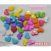MP4307	Mote Plastik Love uk. 1x1,4cm (1 bks isi 12 warna campur)